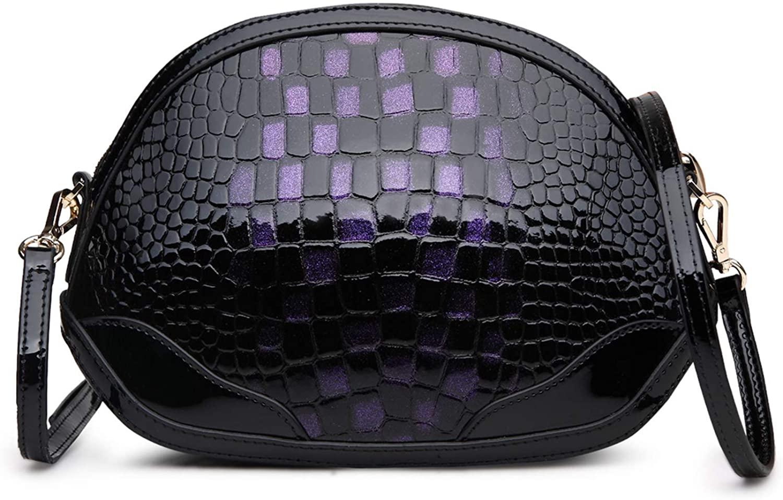 FEIKUNA Women Crossbody Bag Cowhide Handbag Skewed Satchel Hardware Accessories Shoulder Packet
