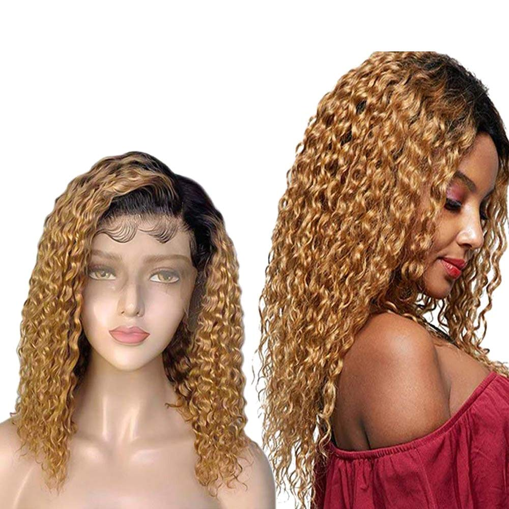 Affordhair Blonde Ombre Lace Front Wig Human Hair Pre Plucked 16 Inches 1B/27 Curly Remy Hair Wigs 13X4 200% Density Lace Frontal Human Hair Wigs