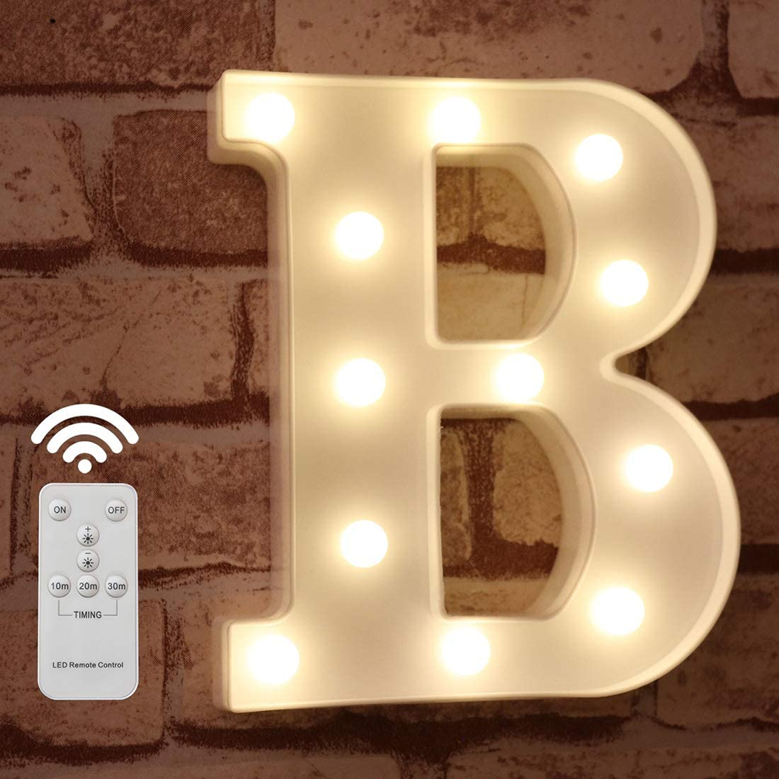 Pooqla LED Marquee Letter Lights Alphabet Light Up Sign with Wireless Timer Remote Control Dimmable for Wedding Home Party Bar Decoration - RC - B