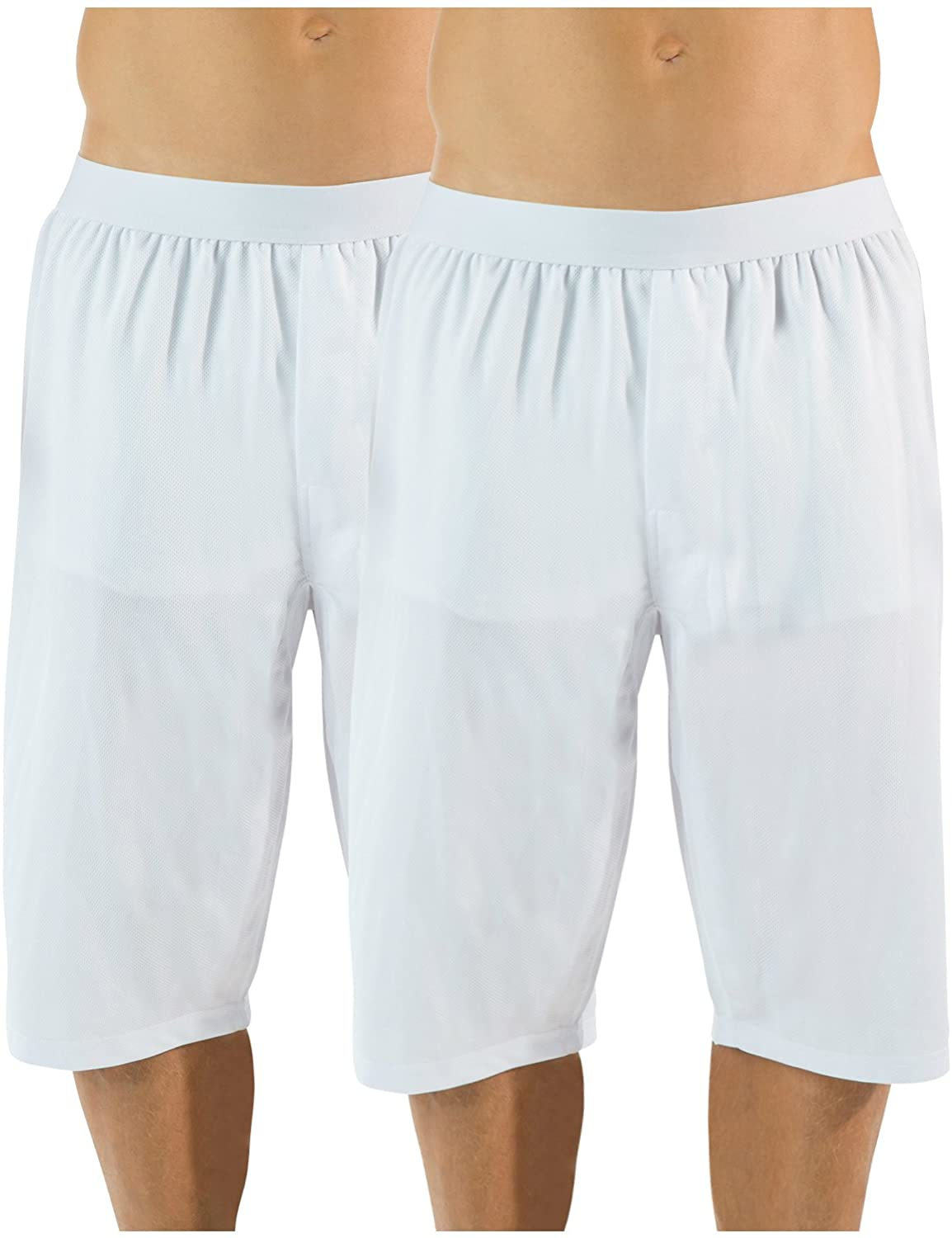Casual Nights Men's Mesh Long Boxer Shorts 2 Pack - White