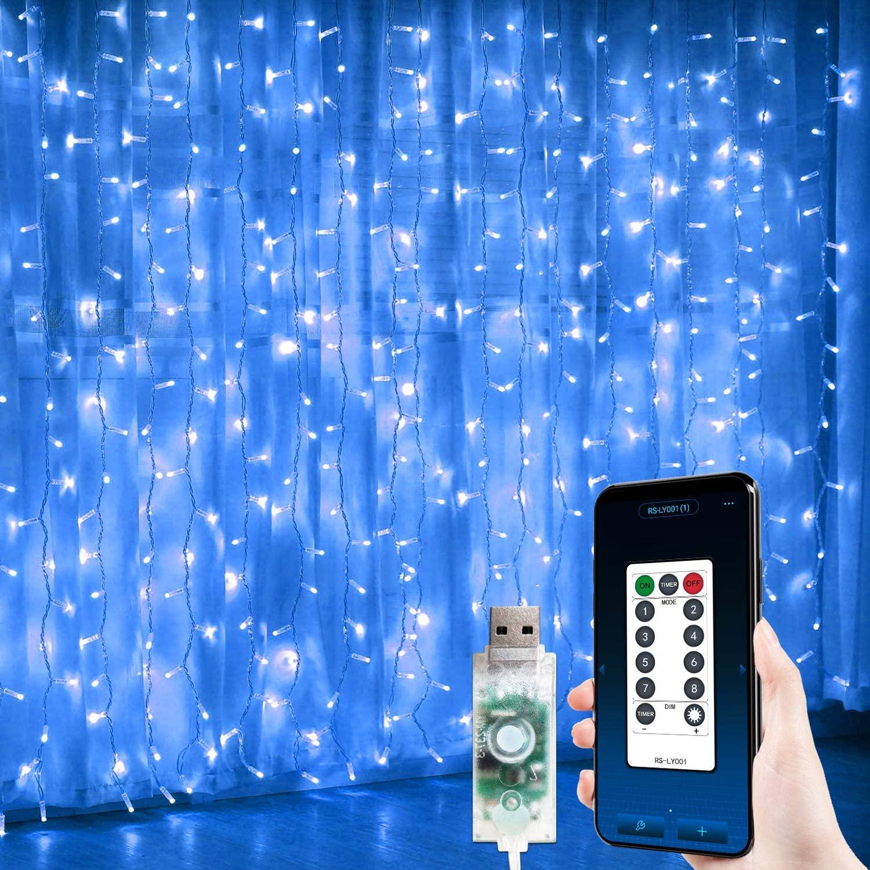JMEXSUSS 300 LED Hanging Window Curtain Lights Blue Halloween Window Curtain String Lights USB Powered Curtain Lights APP Controlled
