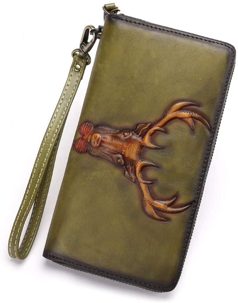 Leather Wallet for Women Deer Pattern Vintage Handmade Wristlet Long Purse Zip Around Clutch