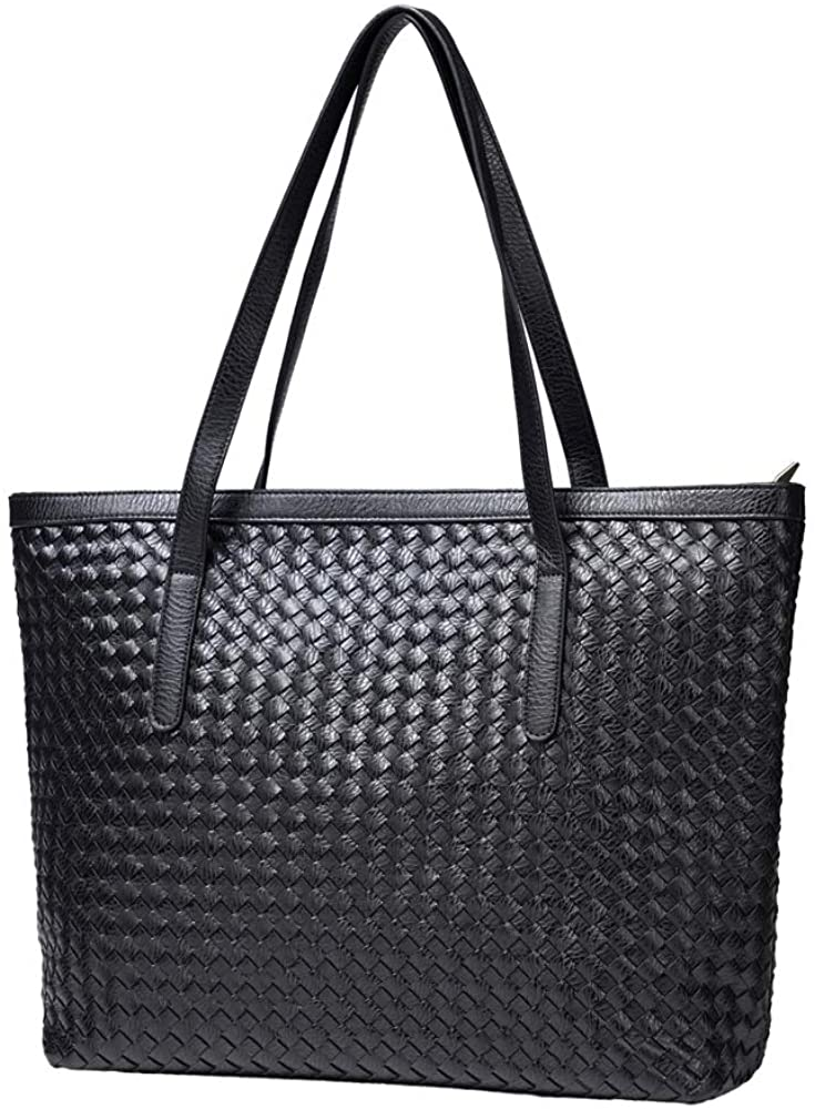 BINUSI Tote Handbags for Women with Zipper Leather Fashion Purses Shoulder Casual Crossbody Designer Hobo Latop Bag