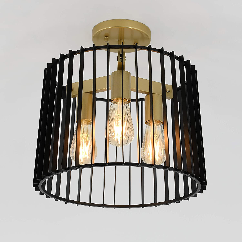 Artika Gatsby Mid Century Black & Gold Ceiling Light