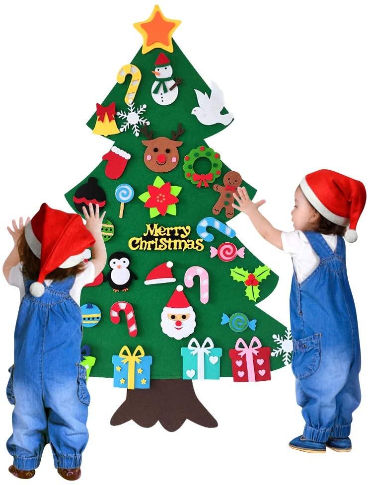 GoHoKi DIY Felt Christmas Tree Set with 34 Detachable Ornaments, Home Wall Door Hanging Kids Xmas Gifts for Christmas Decorations