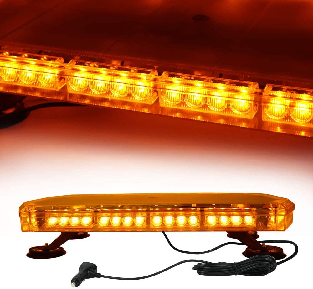 23'' 56 LEDs Emergency Warning Strobe Light Bar, 12-24V Car Roof Light, 16 Flash Modes Recovery Flashing Beacon Light bar with 5m Cable and Double Switch for Snow Plow, Cars, Vans, Trucks, Engineering