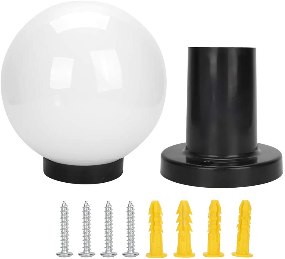 Fdit Decorative Outdoor Globe Column Head Light, IP44 Protection High Brightness Lamp for Patio Garden Porch Backyard
