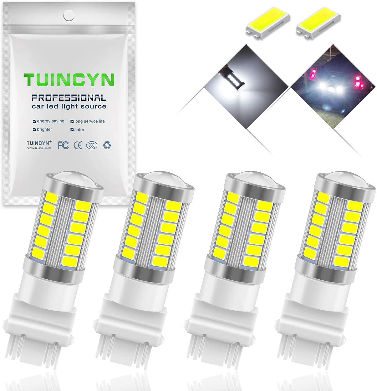 TUINCYN 3157 3155 3156 3157A 3457A LED Brake Light Bulb White 5630 33SMD 8000K 900 Lumens Super Bright Turn Signal Light Tail Back Up Reverse Light Parking Light DC 12V (Pack of 4)