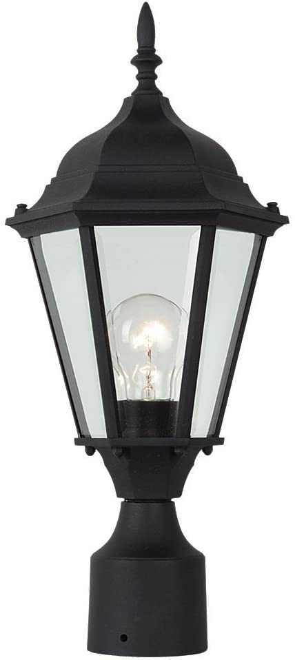 Sea Gull Lighting 82938-12 Outdoor Post Mount with Clear BeveledGlass Shades, Black Finish