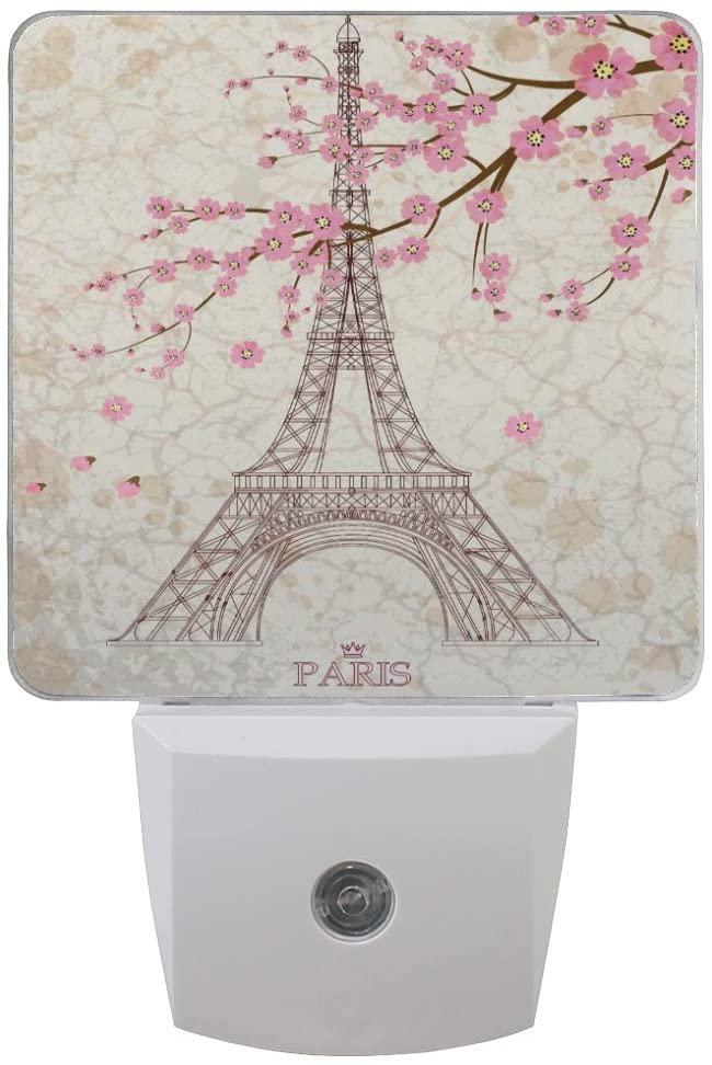 ALAZA Set of 2 Vintage Eiffel Tower Ponk Flower LED Night Light Lamp Dusk to Dawn Sensor Plug in Room Decor for for Girls Boys Adults