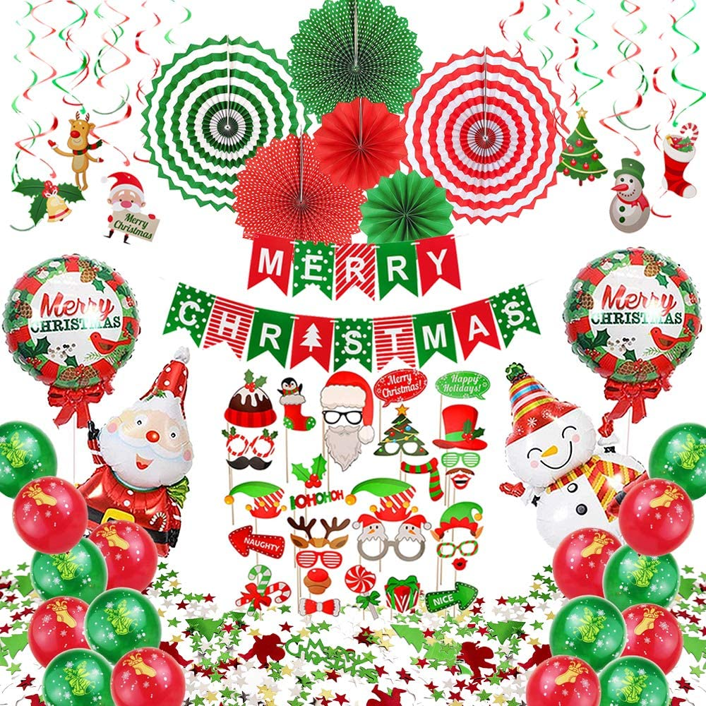 Christmas Party Decorations Supplies, 74 pcs Xmas Decorations Set - Including Paper Fans, Hanging Swirls, Photo Booth Props, Balloons, Confetti and Banner