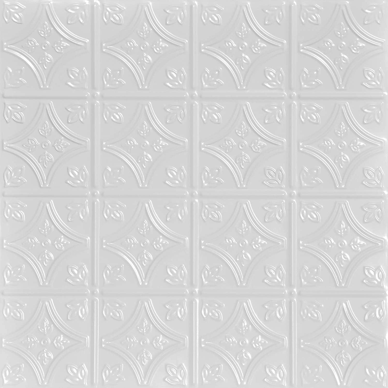Shanko SKPC209-wh-24x24-N-12 Tiny Tiptoe Stamped Metal Nail-up Tin Ceiling Tile (48 sq. ft), White