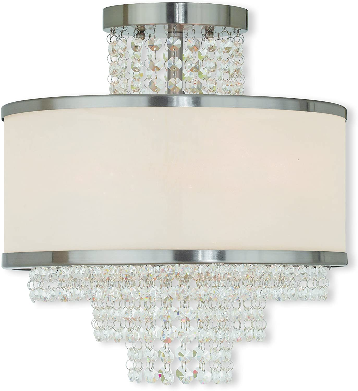 Livex Lighting 50794-91 Crystal Three Light Ceiling Mount from Prescott Collection in Pwt, Nckl, B/S, Slvr. Finish, Brushed Nickel