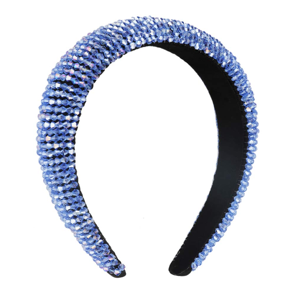 Velvet Padded Rhinestone Headband for Women Crystal Embellished Hair Hoop Races Goth Wedding Headpiece Fashion Hair Accessory(Royal blue)