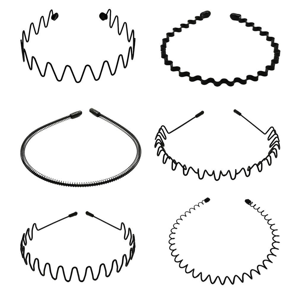 Ptanok 6Pcs Metal Headbands for Men Womens Spring Wave Non Slip Sports Headwear Multipurpose Lightweight Stretchable Hair Hoop Hair Accessories Black
