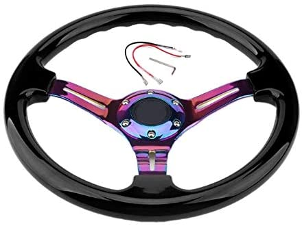 Chrome 350mm 14Inch ABS Racing Steering Wheel 45mm Deep Dish Car Steering Wheel Universal