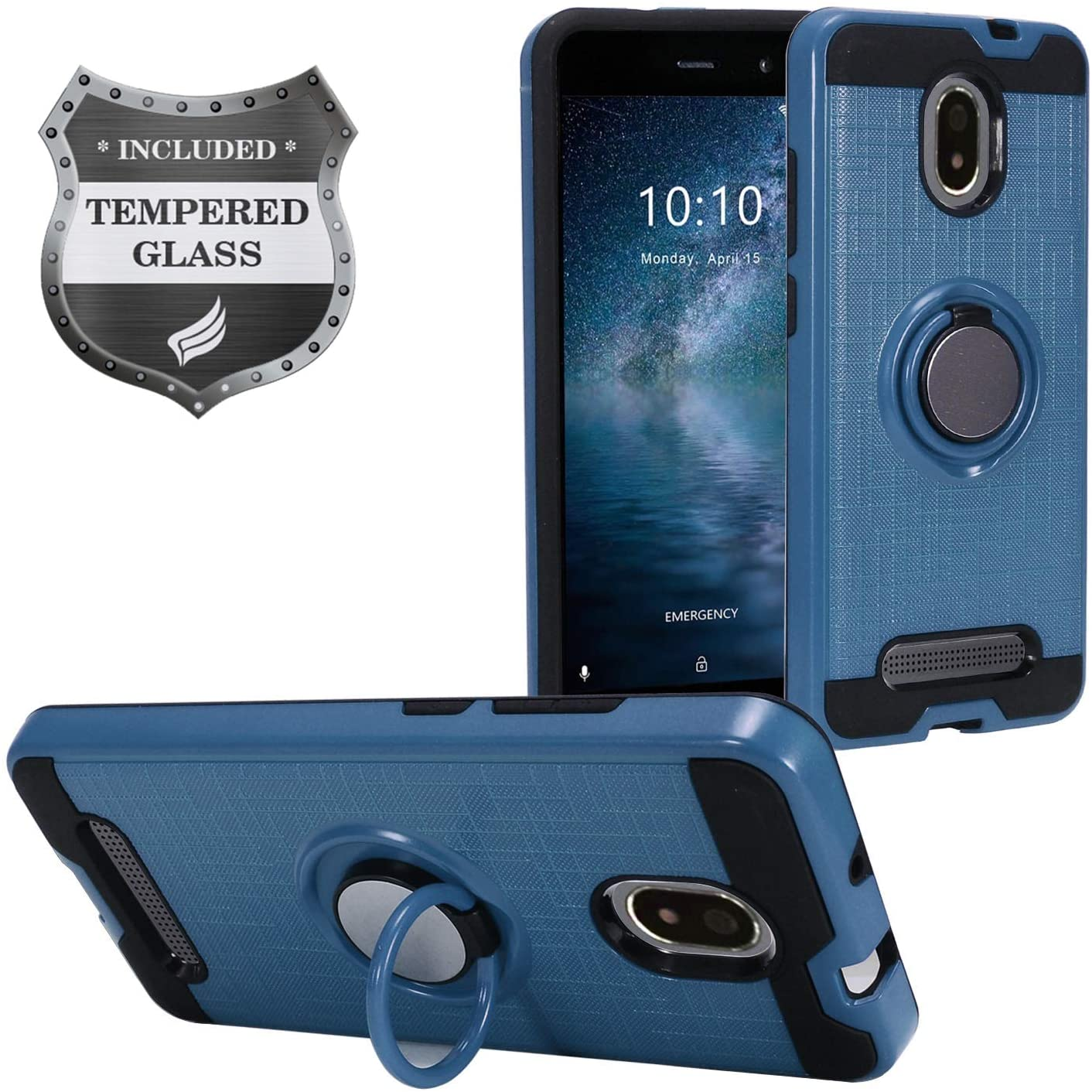 Eaglecell - Foxx Miro L590A FoxxD Miro (MetroPCS) - Hybrid Hard Case w/Ring Stand + Tempered Glass Screen Protector - RS2 Blue