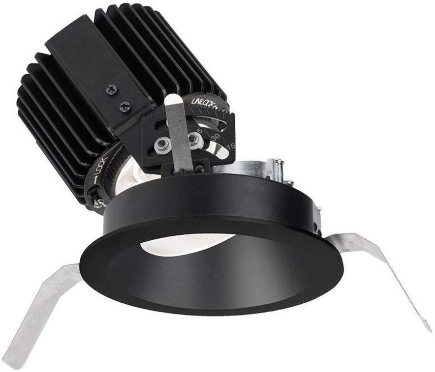 WAC Lighting R4RAT-S827-BK Volta - 6.88 36W 15 2700K 85CRI 1 LED Round Adjustable Trim with Light Engine, Black Finish with Textured Glass