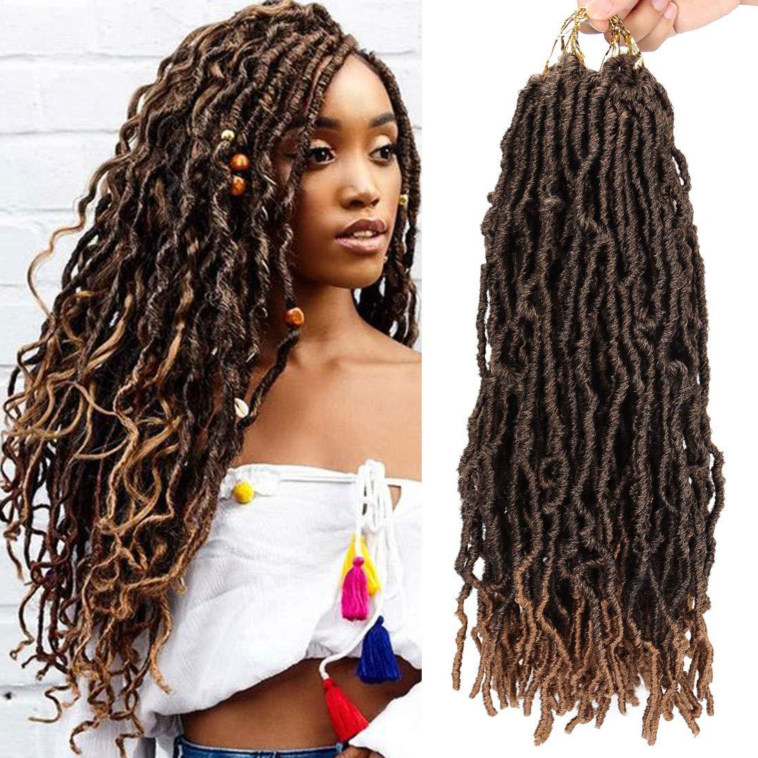 1 Pack Nu Soft Locs Crochet Braids 18inch Goddess Faux Locs Crochet Hair Soft Gypsy Loc Crochet Curly Wavy Twist Synthetic Braiding Hair African Roots Dreadlocks Hair Extensions (18 roots,T1B/27)