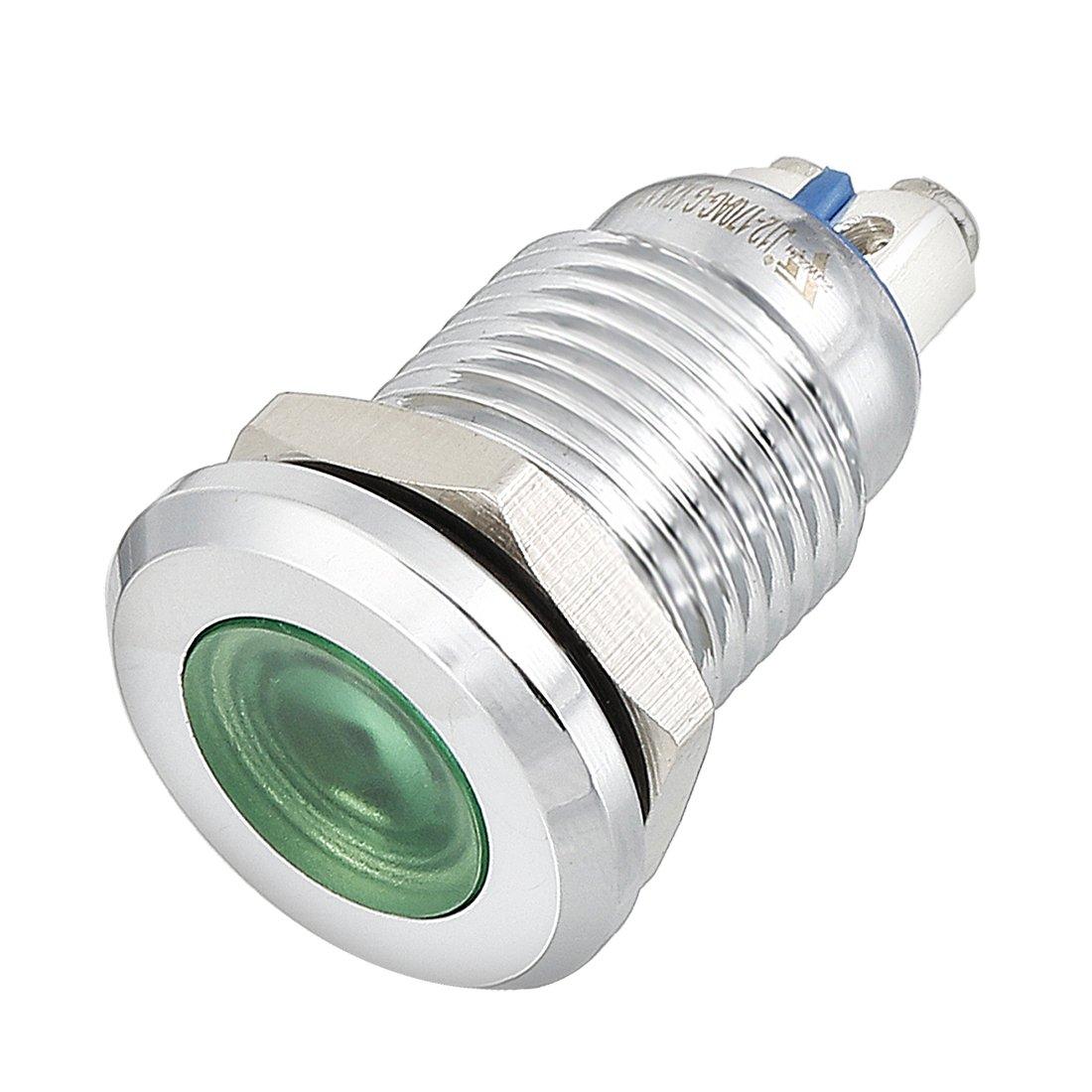 uxcell LED Indicator Light DC 12V 12mm Green Metal Shell Pilot Custom Dash Signal Lamp Flat Head