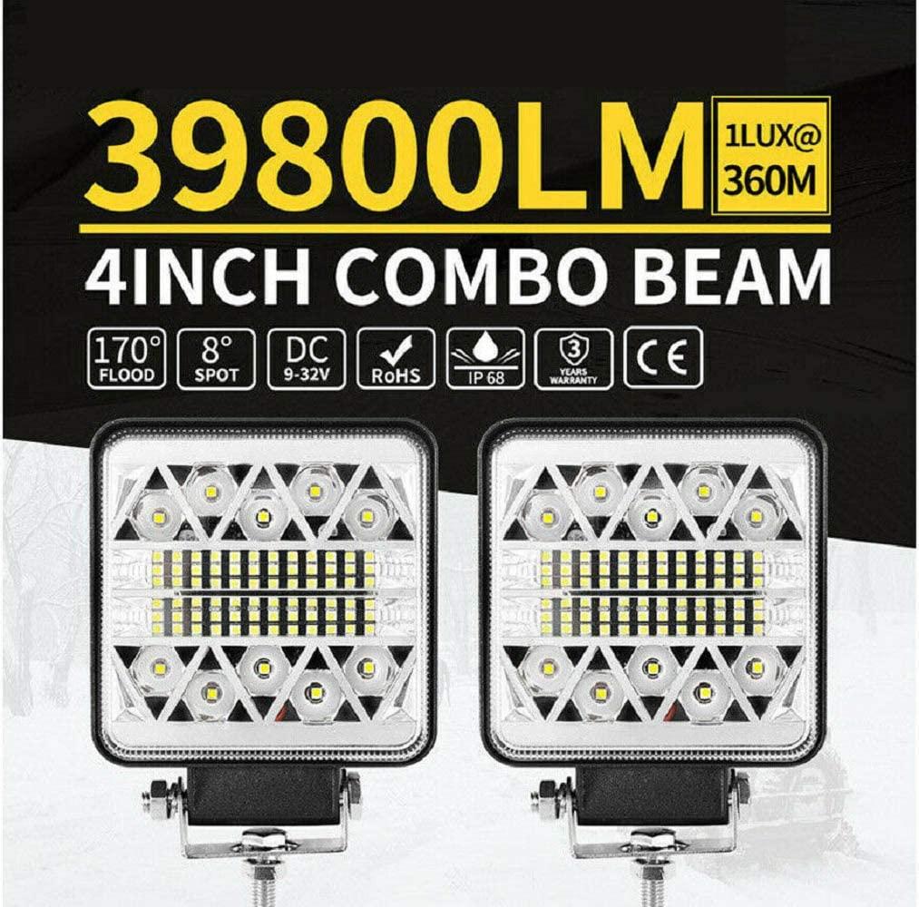 2Pcs MASO 4 Inch 126W LED Work Lights, 39800LM Spot Flood Combo Fog Lights ,CREE Off Road Driving LED Lights ,for Truck Jeep Boat UTV ATV Golf Cart