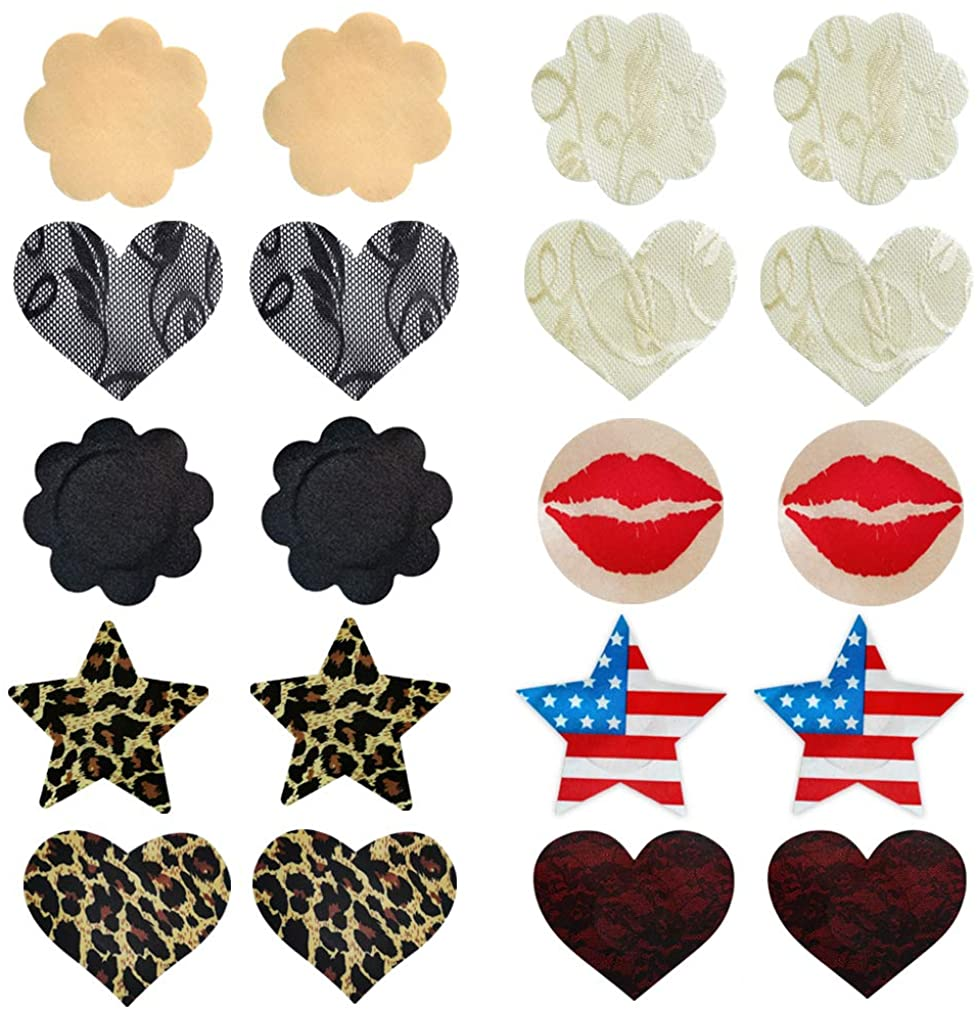 100 Pcs Nipple Covers Self-Adhesive Disposable Multi Design Leopard Nippleless Pasties Star Breast Satin Petal Stickers Heart Lace Breast Pasties for Women Men Lingerie 10 Shapes