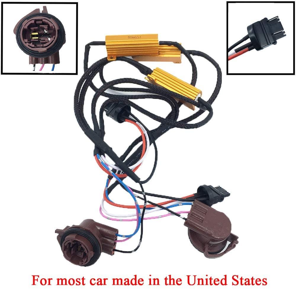 2pcs 50W 6 Ohm 3157 3047 3057 3155 3457 4057 4114 4157 Led Load Resistors Fix Hyper Flash for Switchback LED Turn Signal Blink Light LED License Plate Lights Error Code
