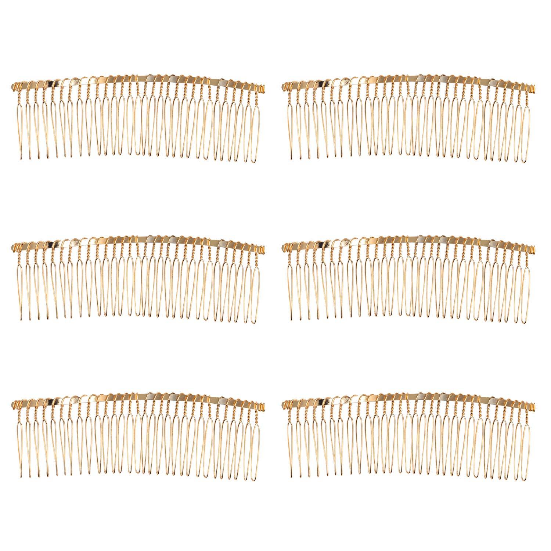 Senkary 10 Pieces Hair Comb Clip Metal Wire Hair Combs Bridal Wedding Veil Combs (30 Teeth, Gold)