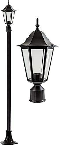 DABMAR LIGHTING GM1301S-LED16-B Daniella Post Light Fixture w/Clear Glass 16 Watt LED Lamp 85-265 Volts, Black