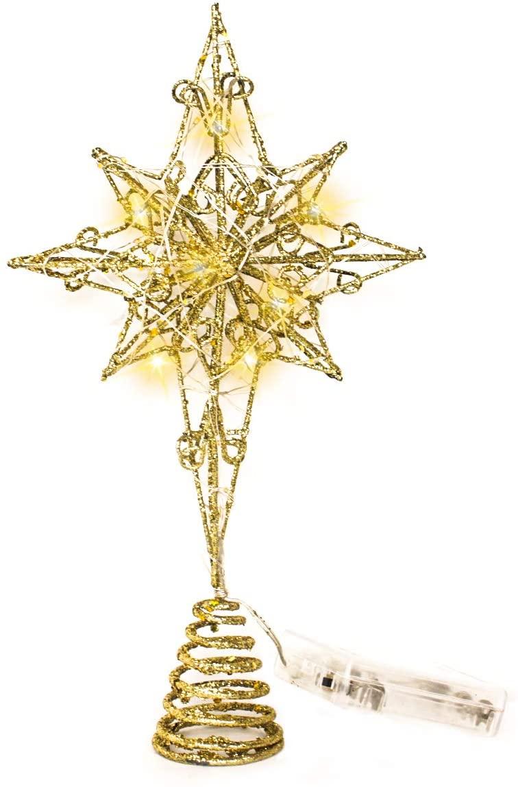 Melonva 【The Newest 2020】 Christmas Tree Topper Xmas Tree Topper Christmas Tree Star with LED Lights for Christmas Tree Decorations - Gold Eight Point Star Polaris