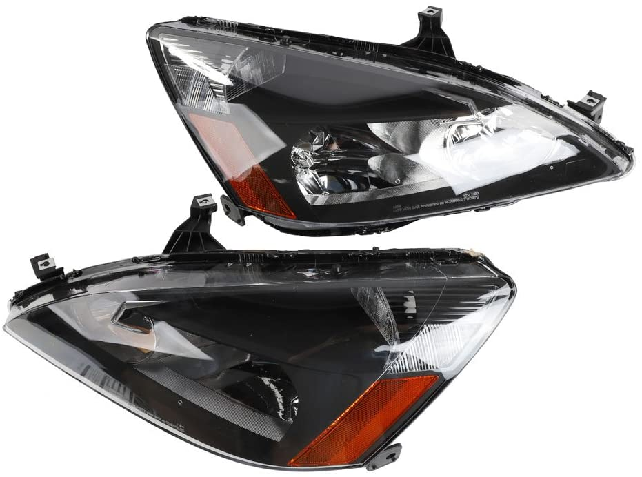 TRIBLE SIX Pair of HO2502120 HO2503120 Headlights Assembly Left and Right Headlamps with Bulbs fit for 2003-2007 Honda Accord DX EX EX-L GX LX SE