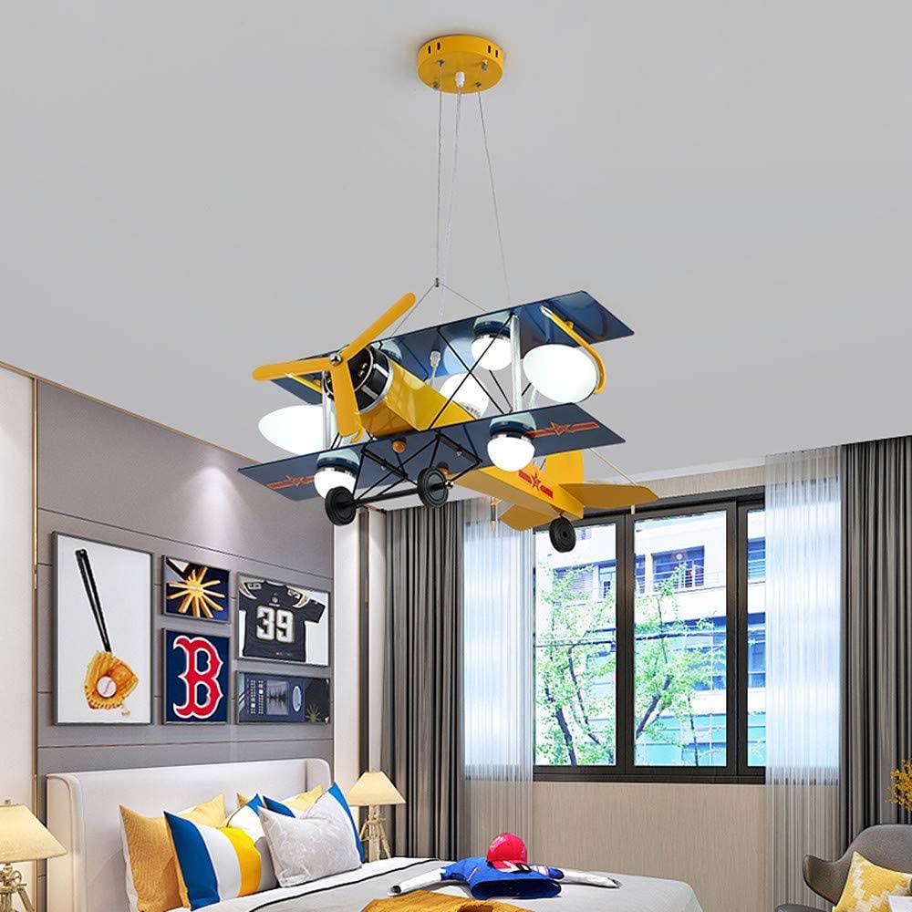 LAKIQ Children's Room Cartoon Airplane Pendant Light Modern LED Creative Aircraft Hanging Chandelier Ceiling Lighting Fixture for Boys Girls Kids Room Bedroom (Yellow)