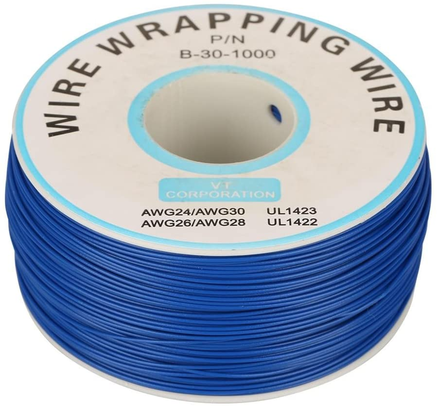 Electric Cable,1Roll Wire-Wrapping Single Copper Wire Strand 30AWG Cable 0.25mm Core Diameter(Blue)