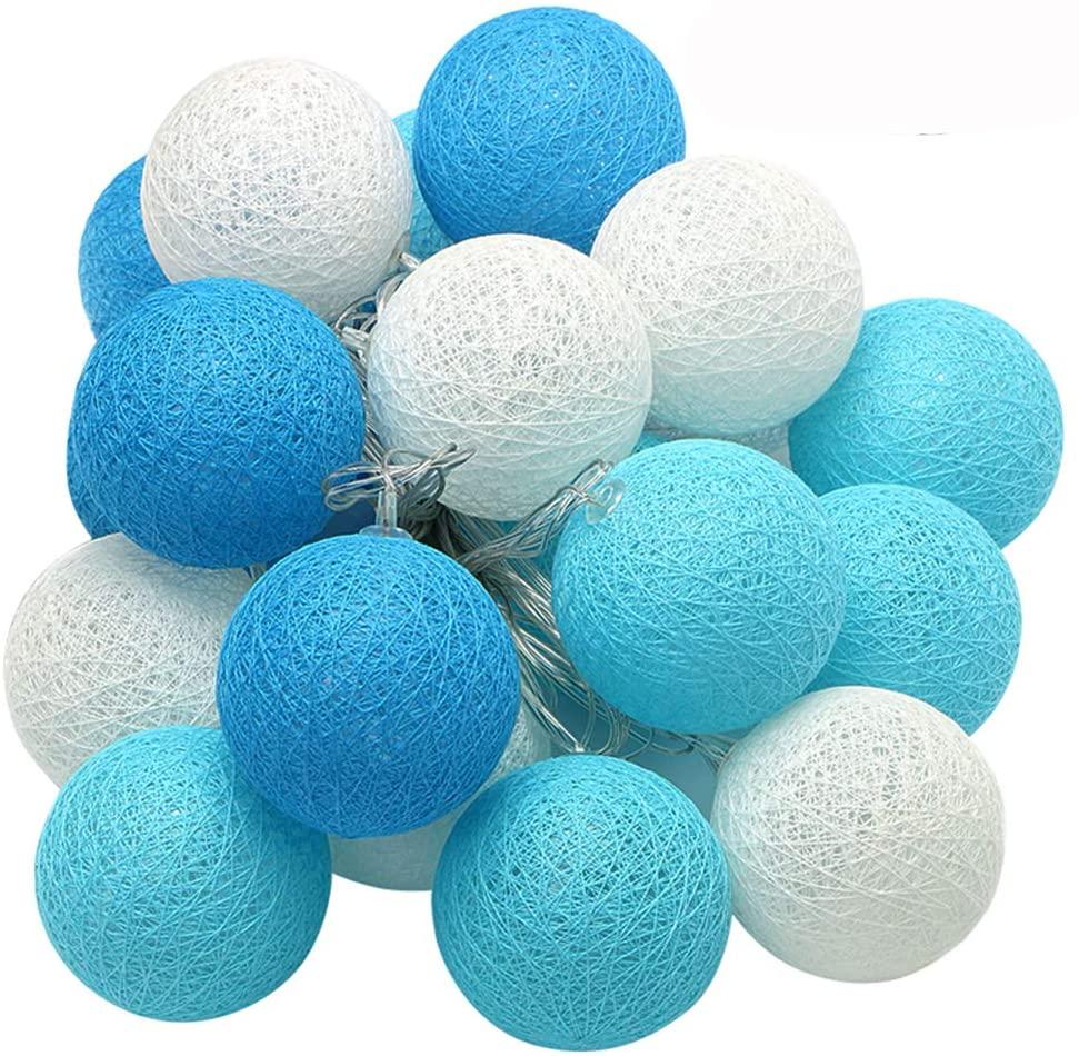 XIYUNTE Cotton Ball String Lights - 3M 20LED Blue/White Ball String Lights, Battery or USB Powered Cotton Ball String Light Indoor Decor for Kids Room, Party, Wedding, Christmas(Ball Diameter: 4cm)