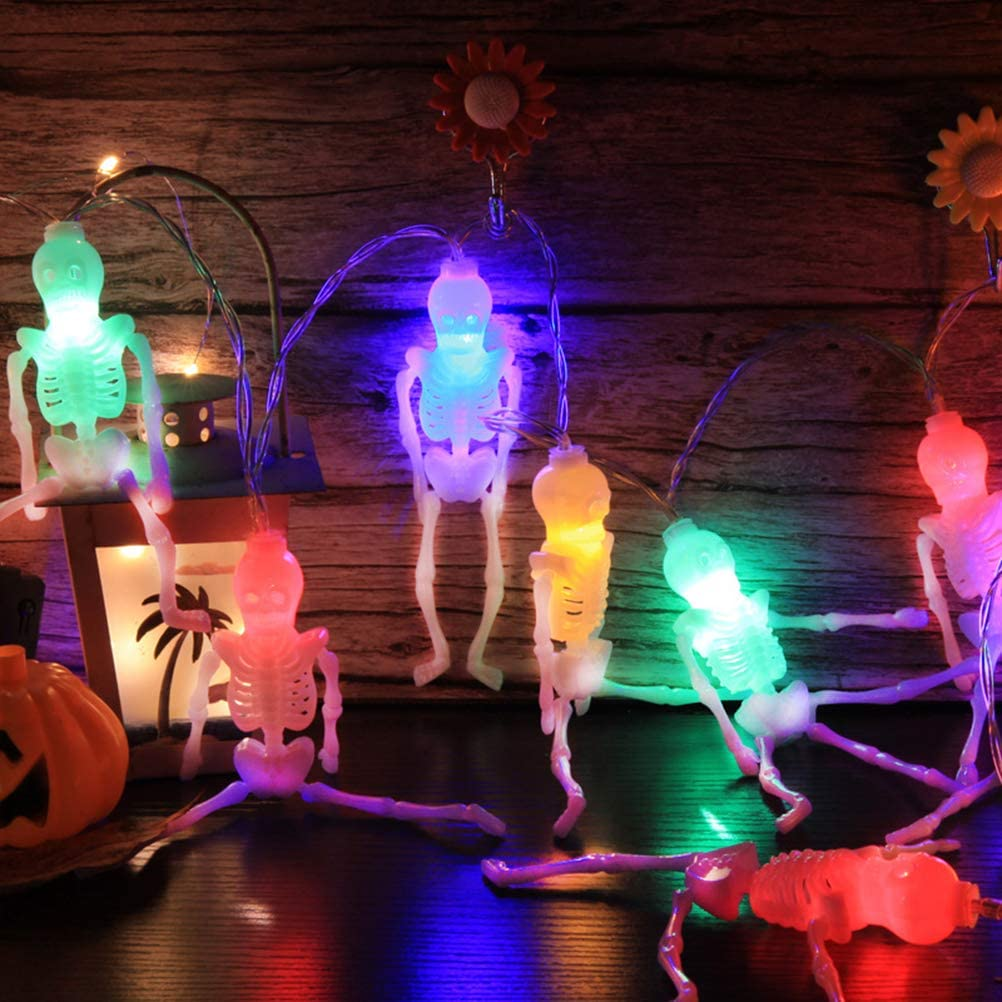 OonlyoO Halloween Skeleton String Lights 5 Meter 20 LEDs Battery Operated Fairy Lights for Halloween Decoration
