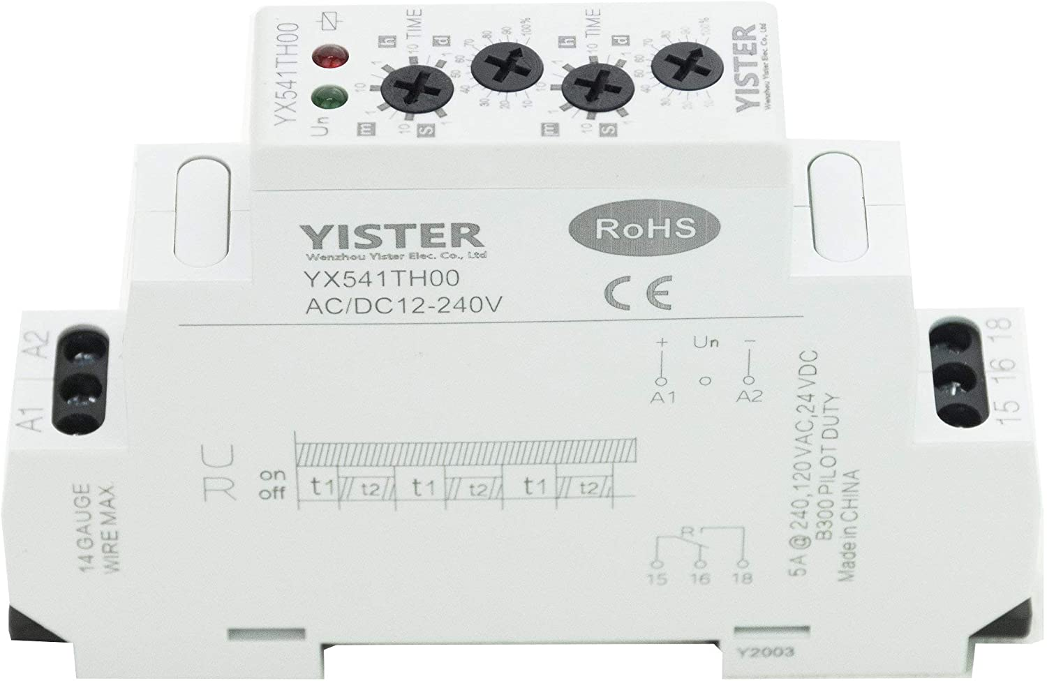 YISTER YX541 Asymmetric Cycle Timer SPDT Relay Electronic Repeat Mini Power Switch AC/DC12-240V 16A SPDT