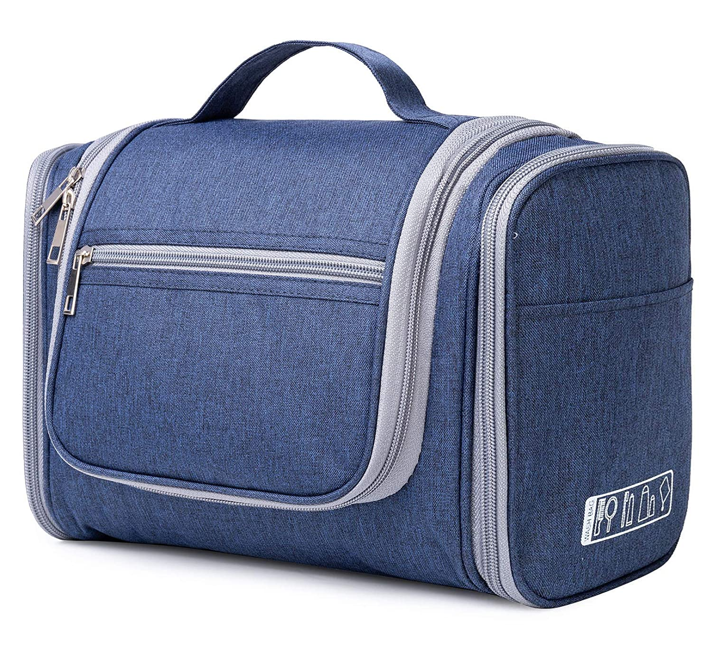 Extra Large Hanging Toiletry Bag Travel Cosmetic Organizer Shower Bathroom Bag for Men Women Water-resistant (X-Navy Blue Denim)