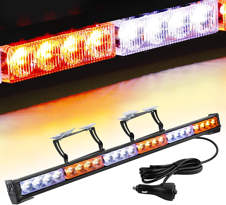 "YITAMOTOR 30"" Traffic Advisor Light Bar 24 Led Warning Emergency Strobe Light Bar 13 Flash Patterns Directional Flashing Led Safety Lights with Cigar Lighter(Amber/White)"