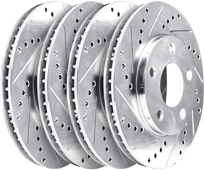 [FRONT,REAR]Platinum Hart Cross-Drilled Slotted Brake Rotor Kits PHCC.33051.01