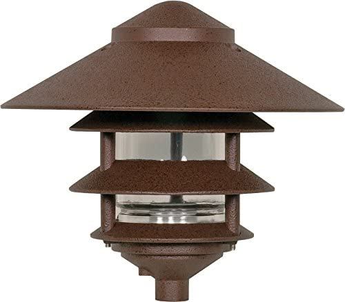 Nuvo Lighting SF76/637 Outdoor Pathway and Garden 3-Louver Pagoda Light Fixture, Large, 10-Inch Hood, 100 Watts/120 Volts (Bronze)