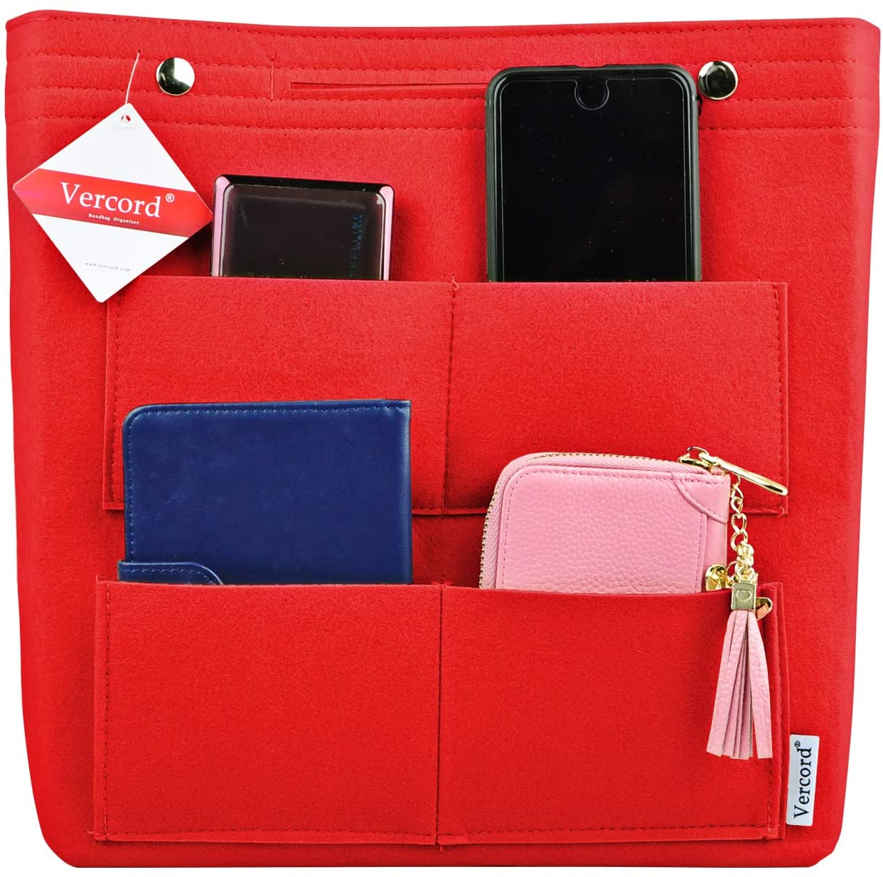 Vercord Felt Tall Long Purse Tote Backpack Bag Insert Organizer Inside for Women Red