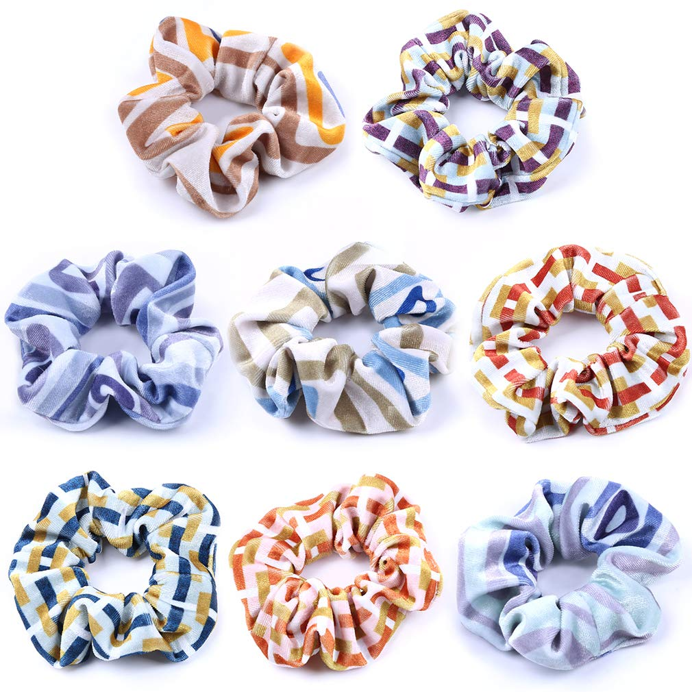 Hair Scrunchies Korea Velvet Stripe Printings Ties Elastic Hair Bands Ropes Scrunchy Soft for Ponytails Top Knots Braids and Buns Women Girls Hair Accessories Pack of 8
