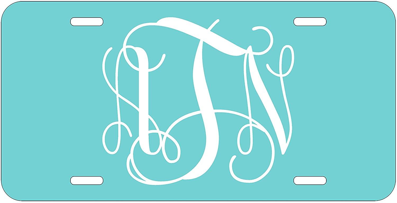 Top Craft Case Personalized Monogram License Plate - Light Blue Custom Initials Auto Car Tag