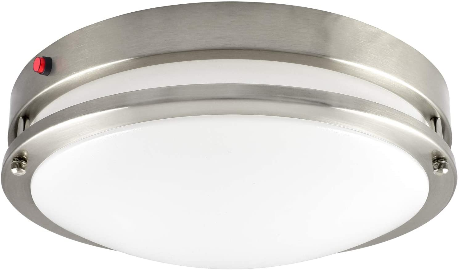 Luxrite 14 Inch LED Flush Mount Ceiling Light with Emergency Battery Backup, CCT Color Temperature Selectable 2700K | 3000K | 3500K | 4000K | 5000K, Dimmable, 18W, 1440 Lumens, ETL Listed, Damp Rated