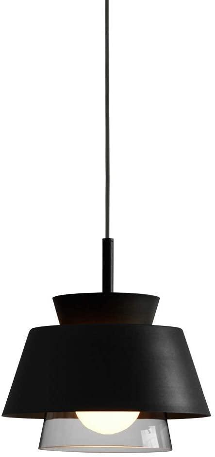 SkyTalent Nordic Pendant Light, Metal Hanging Ceiling Lights Fixture with Clear Glass, Flush-Mount Swag Lighting for Kitchen/Dining Room/Hallway/Bedroom, E26 Base (1 Pcs,Black)
