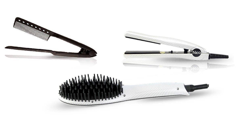 Neo 3 pcs Set - Ionic Heated Brush Straightener, Ceramic Flat Iron and Easy Hair Comb Full Set (White Pearl)