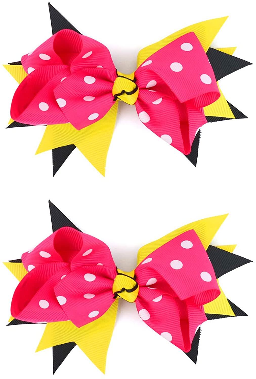Trendy Apparel Shop Polka Dot Ribbon Bow Hair Clip 2 Pack