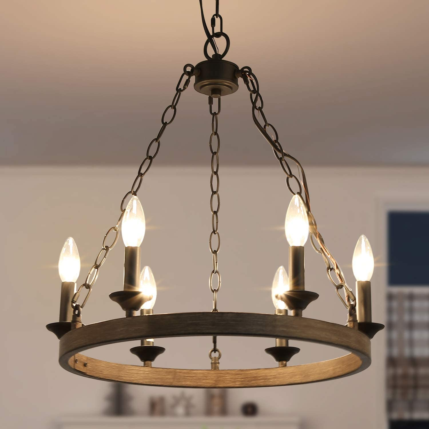 LOG BARN Round Chandelier, Dining Room Lighting Fixtures Hanging in Rustic Faux Wood Metal Finish, Farmhouse Wagon Wheel Pendant Lamps for Kitchen Island, Entryway