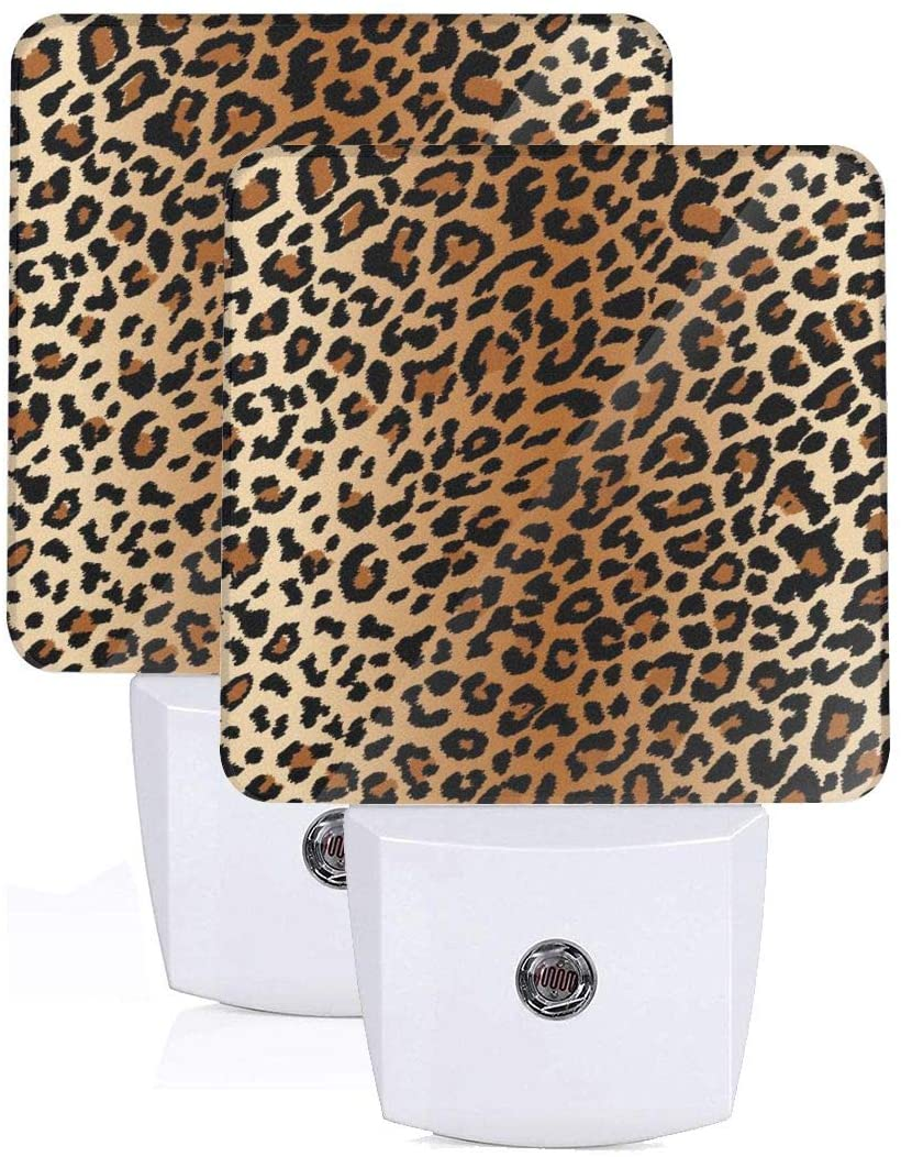 FeiHuang Printing Hot Golden Leopard Patterns On Plug-in LED Night Light Warm White Nightlight for Bedroom Bathroom Hallway Stairways(0.5W 2-Pack)