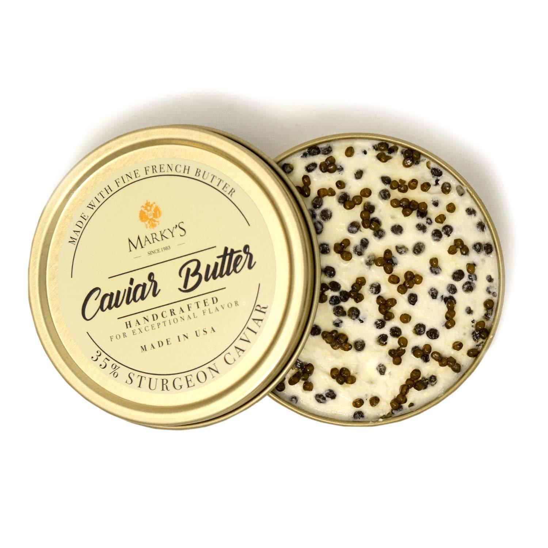 Marky's Premium Sturgeon Caviar Butter - 3.5 Oz - 65% French Butter/ 35% Sturgeon Caviar – GUARANTEED OVERNIGHT